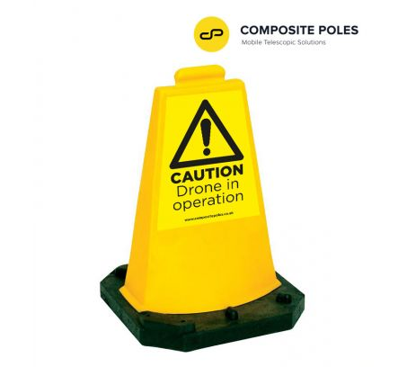 Cone with Warning Sign for Drone